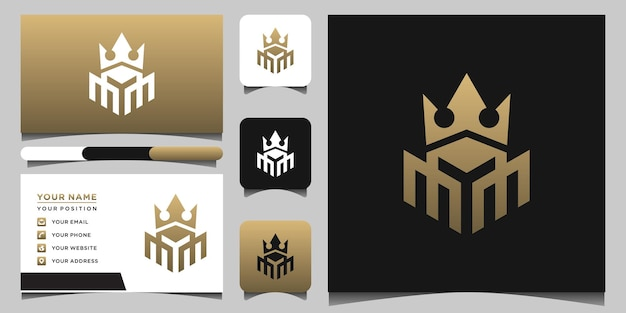Modèles de logo m crown et conception de cartes de visite vecteur premium