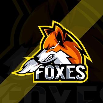 Modèles de logo de mascotte angry fox