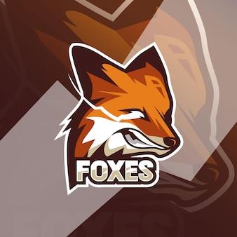 Modèles de logo de mascotte angry foxes