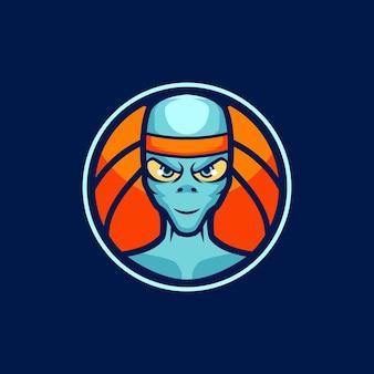 Modèles de logo de mascotte de basket-ball extraterrestre
