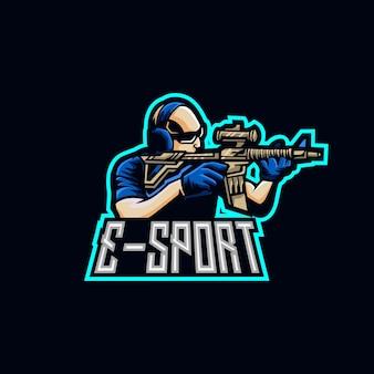 Modèles de logo de mascotte de sniper