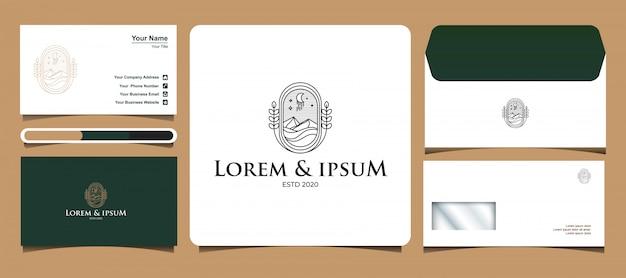 Modèles de logo de montagne et océan avec le concept de dessin au trait, équipés de conceptions de cartes de visite et d'enveloppes de lettres