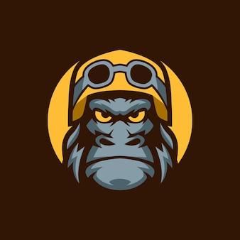 Modèles de logo de moto de casque de gorille