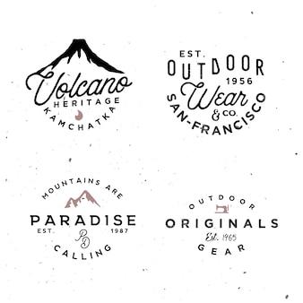 Modèles de logo en plein air. badges vintage simples sur le thème de l'aventure