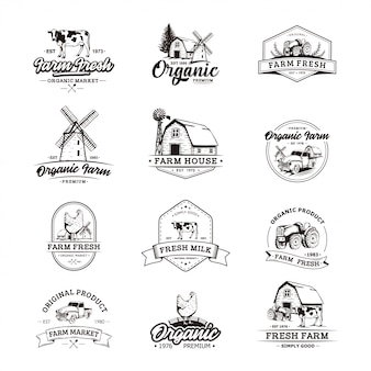 Les modèles de logo rétro de l'agriculteur