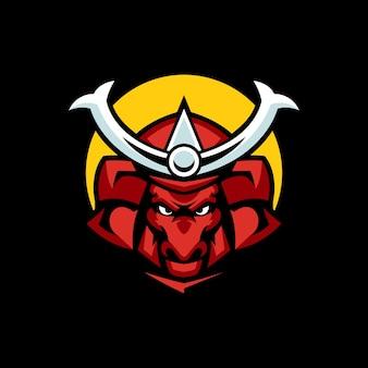 Modèles de logo de samouraï taureau