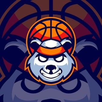 Modèles de logo de sport de basket-ball panda
