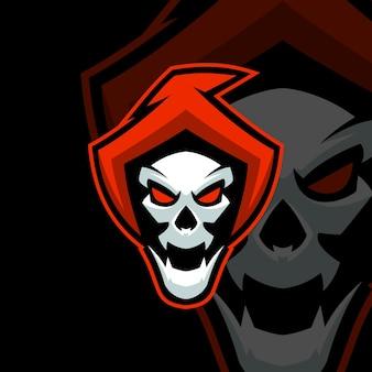 Modèles de logo de sport crâne rouge
