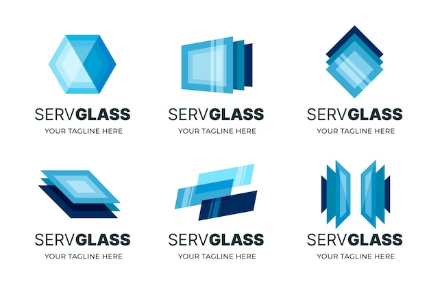 Modèles de logo en verre design plat créatif