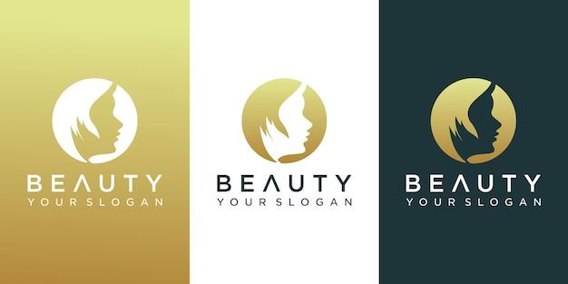 Modèles de logo de visage de beauté