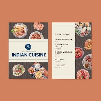 Modèles de menus avec cuisine indienne