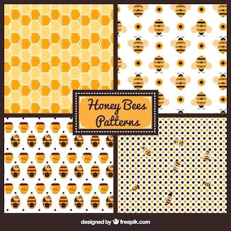 Modèles de miel et les abeilles mignonnes