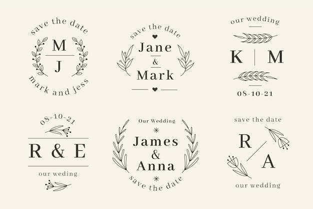 Modèles de monogrammes de mariage plats linéaires