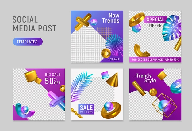 Modèles d'objets géométriques dorés brillants en papier vérifié après les médias sociaux