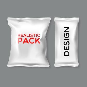 Modèles de pack réalistes de différentes formes et tailles sur fond gris