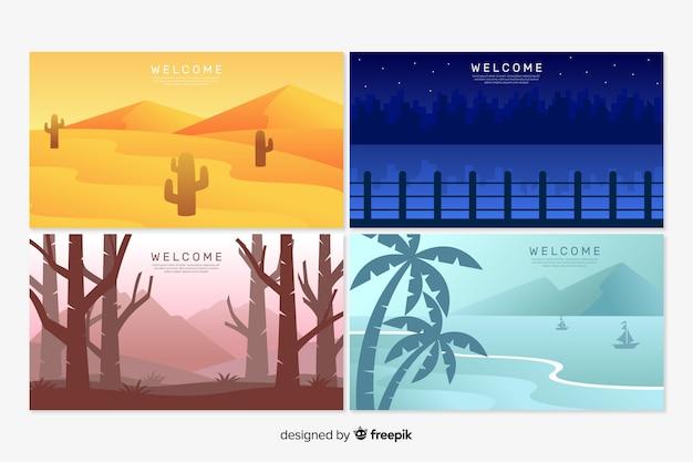 Modèles de page de destination avec paysage