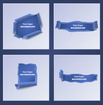 Modèles de papier bleu déchiré et déchiré