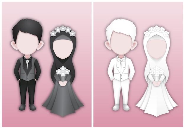 Modèles de personnages pour les invitations de mariage