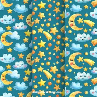 Les modèles pour enfants pack de lunes avec des étoiles et des nuages
