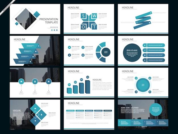Modèles de présentation abstraite bleue infographique