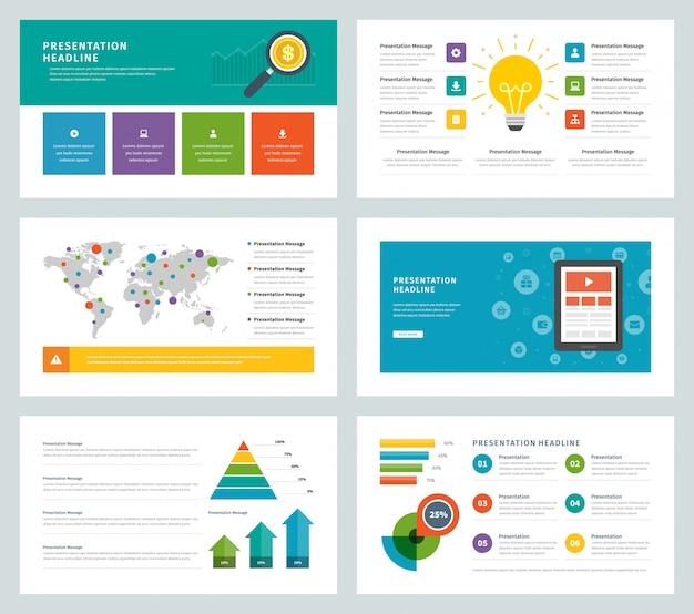 Modèles de présentation commerciale design plat vectoriel infographie icônes et éléments.