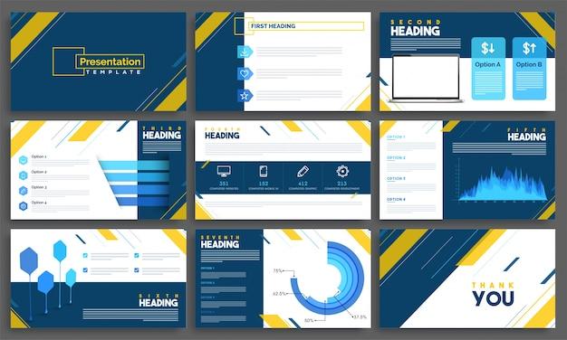 Modèles de présentation avec des éléments infographiques pour les entreprises.