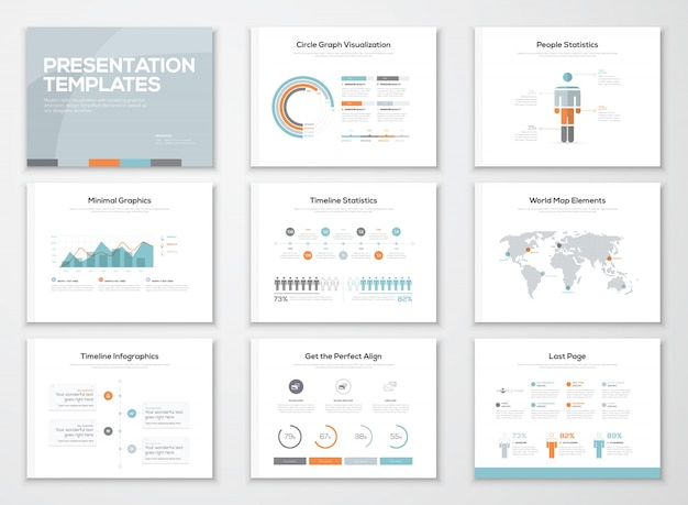Modèles de présentation d'infographies et brochures commerciales