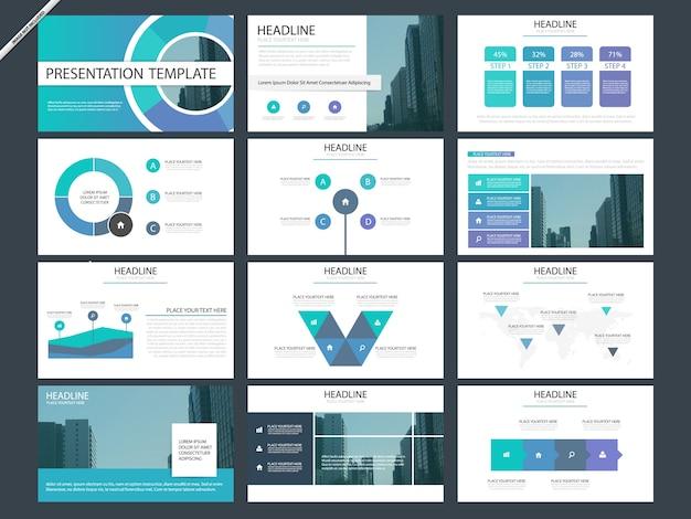 Modèles de présentation infographique bleu