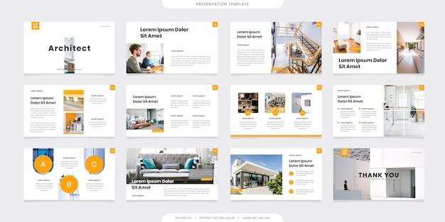 Modèles de présentation minimalistes ou livret d'entreprise. utilisation dans un dépliant et un dépliant, une bannière marketing, une brochure publicitaire, un rapport annuel ou un curseur de site web. vecteur de profil d'entreprise de couleur jaune