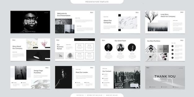 Modèles de présentation minimalistes ou livret d'entreprise. utilisation dans un dépliant et un dépliant, une bannière marketing, une brochure publicitaire, un rapport annuel ou un curseur de site web. vecteur de profil d'entreprise couleur noir et blanc