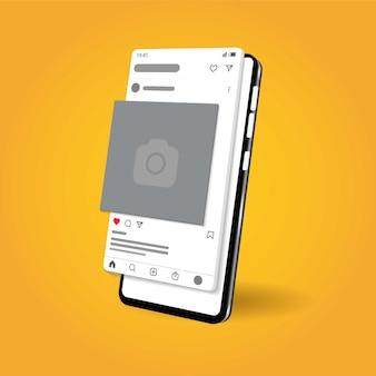 Modèles de publication instagram sur mobile vector premium