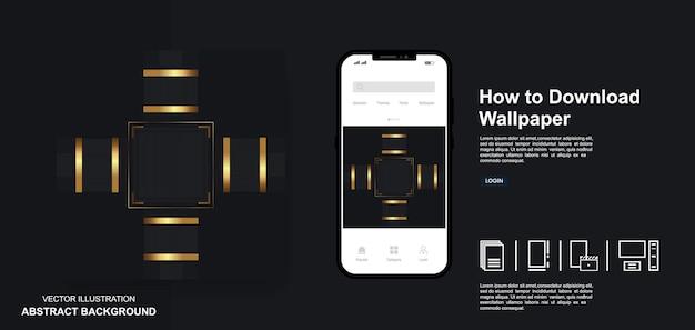 Modèles de publication de médias sociaux dop noir et lignes dorées fond abstrait moderne de luxe