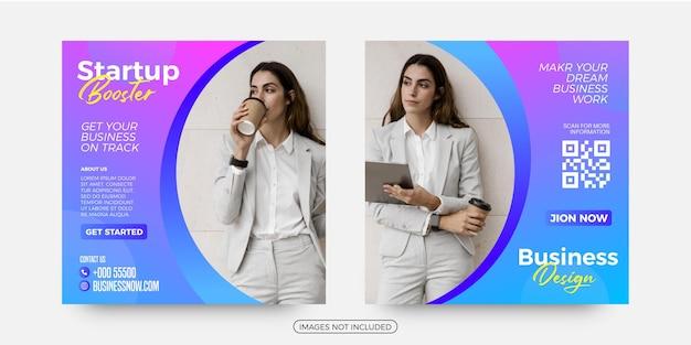 Modèles de publication sur les médias sociaux pour la publicité d'une entreprise de démarrage
