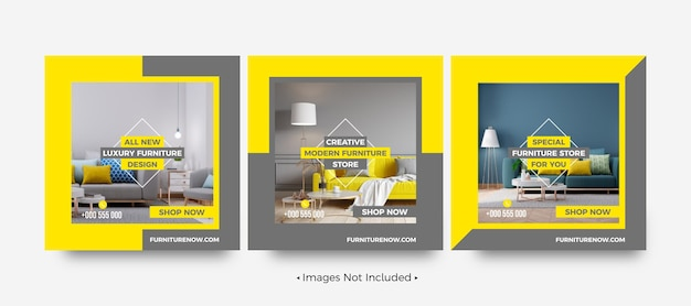 Modèles de publication sur les médias sociaux pour la vente de meubles modernes