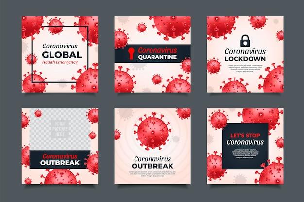 Modèles de publication de médias sociaux red coronavirus avec concept de quarantaine et de verrouillage.