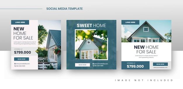 Modèles de publication de promotion de vente immobilière sur les médias sociaux carrés