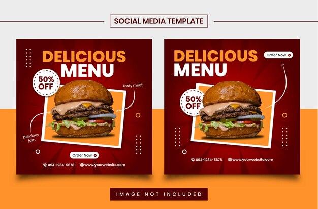 Modèles De Publication Sur Les Réseaux Sociaux Culinaires Vecteur Premium
