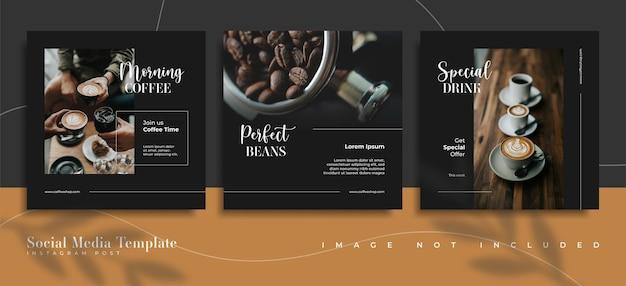 Modèles de publication sur les réseaux sociaux du café
