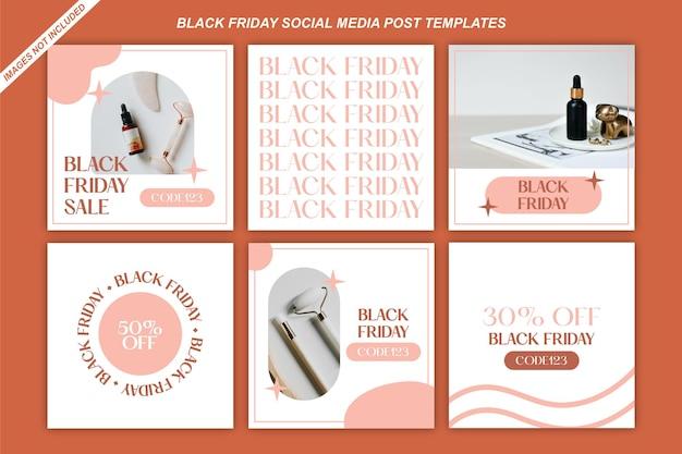Modèles de publication sur les réseaux sociaux du vendredi noir pour un salon de beauté