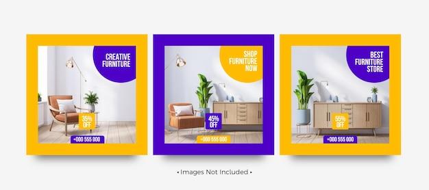Modèles de publication sur les réseaux sociaux de marques de meubles