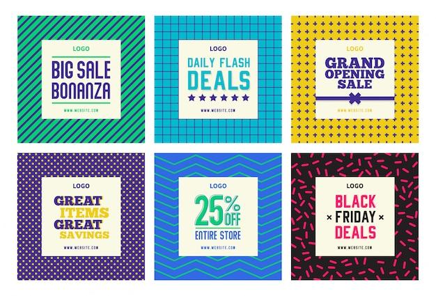 Modèles de publication de vente de médias sociaux shopping instagram facebook set