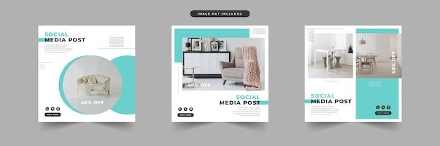 Modèles de publications de médias sociaux plats modernes simples