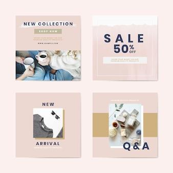 Modèles de publicité shopping et vente vector set
