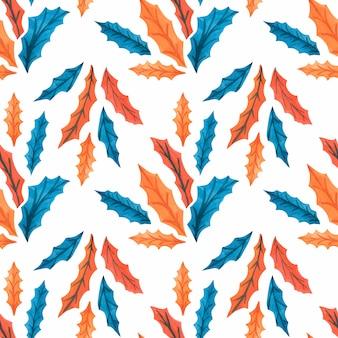 Modèles sans couture aquarelle de noël avec des feuilles de houx