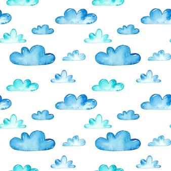 Modèles sans couture aquarelle nuages bleu