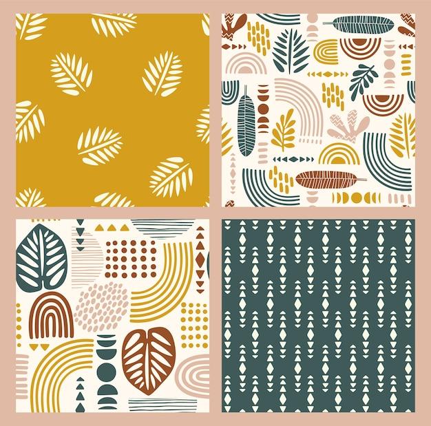 Modèles sans couture artistiques avec des feuilles abstraites et des formes géométriques.