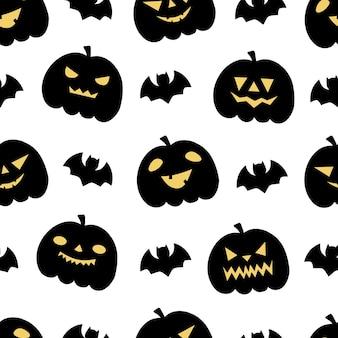 Modèles sans couture d'halloween avec des citrouilles et des chauves-souris. parfait pour la décoration, les papiers peints, les papiers d'emballage, les cartes de voeux