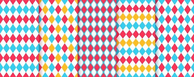Modèles sans couture de losange de cirque. arlequin arrière-plans lumineux.