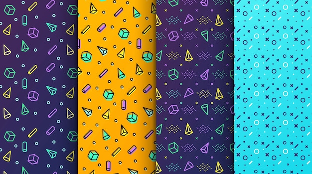 Modèles sans couture memphis colorés disponibles dans le panneau nuancier