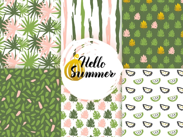 Modèles sans couture de nature d'été. illustration vectorielle de fond de tuile rétro.